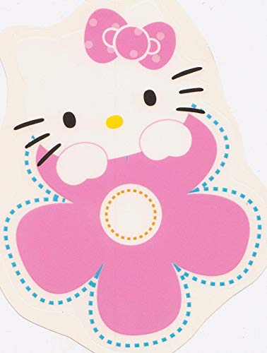 (6 Inch Floral Hello Kitty Decal Sanrio Removable Peel Self Stick Wall Sticker Art (Decoration for Walls Laptop Yeti Tumbler) Nursery Bedroom Home Decor Girls Room 4 1/2 x 5 1/2 Inch Tall )