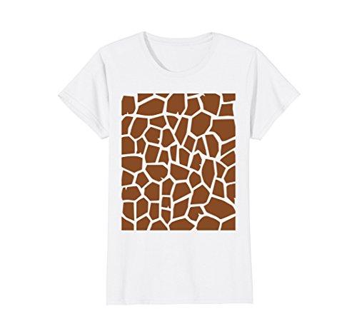 Womens Giraffe Print - Easy Halloween Costume Idea - Tee Shirt Medium White