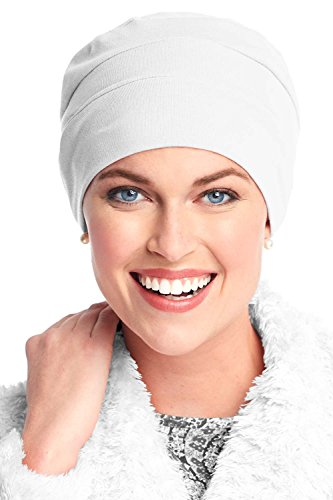 Headcovers Unlimited Three Seam Cotton Sleep Cap-Caps for Women with Chemo Cancer Hair Loss White]()