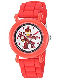 Marvel Super Hero' Reloj de cuarzo de acero inoxidable y silicona, color rojo (modelo: WMA000295)