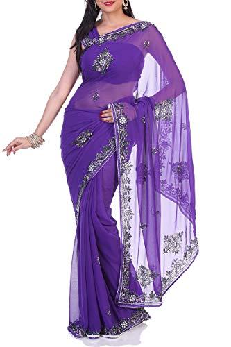 Designer Saree Chiffon Exclusive Wear Indian Ethnic Violet BwqYgxOt