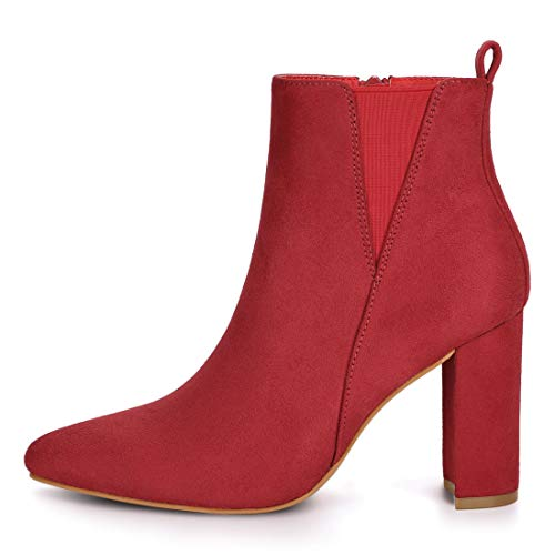 Red Ankle Zipper Women's Boots Block Heel Toe Allegra Pointed K cnWfzZzxA