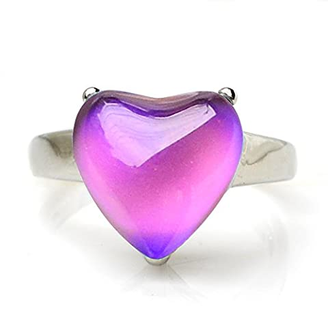 Fun Jewels Silver Tone Heart Crystal Stone Multiple Color Change Emotion Feeling Mood Ring Size (Mood Rings Size)