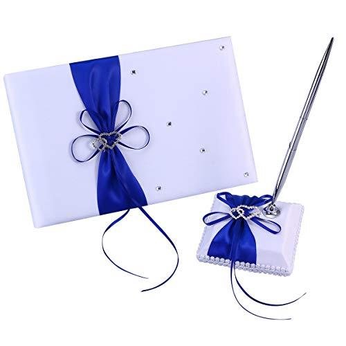 Joysiya Wedding Guest Book and Pen Set Double Heart Rhinestone Decor Signature Book with Pen for Wedding Party Decorations - Blue
