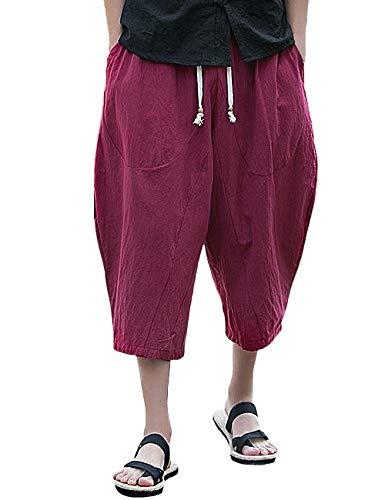 Rexcyril Men's Casual Pants, Drawstring Loose Baggy Linen Capri Harem Pants Crop Yoga Shorts Pockets Red