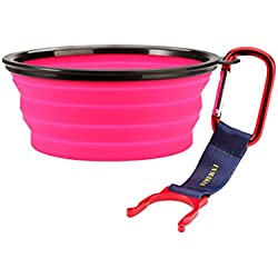 INMAKER Collapsible Dog Bowl, FDA Approved Silicone Pet Bowl for Dog Cat, BPA Free Portable Travel Bowl (Pink 1.5 Cup)