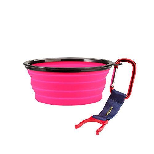 [INMAKER Collapsible Dog Bowl, FDA Approved Silicone Pet Bowl for Dog Cat, BPA Free Portable Travel Bowl (Pink 1.5] (Dollar Jumbo Glasses)
