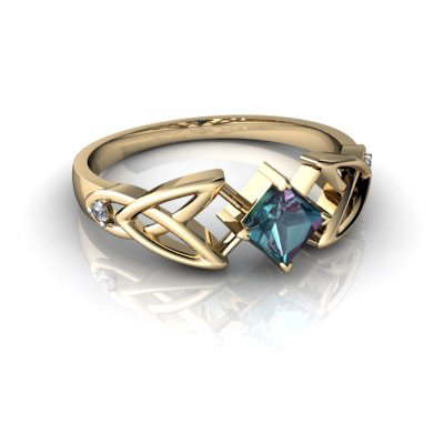 14kt Yellow Gold Lab Alexandrite and Diamond 4mm Square Celtic Trinity Knot Ring - Size 6
