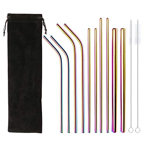 Stainless Steel Reusable Drinking Straws Drinking Metal Straws Set of 10 with 2 Sizes Brushes Environment-Friendly Straw(4 Bent+4 Straight+2 Wide) ()