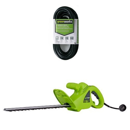 GreenWorks 22102 2.7 Amp 18-Inch Corded Hedge Trimmer and 50' Indoor/Outdoor...