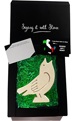 Best Valentine's Day gift for bird lovers ♥ Handmade in Italy ✉ Elegant gift box & blank message card ✍ Rare stone contains fossil fragments ♫ Singing robin - Symbol of Changing Luck & New Beginnings