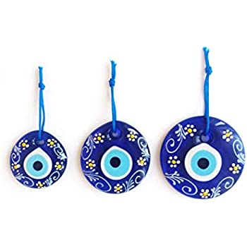 Erbulus Turkish Blue Evil Eye Wall Hanging Ornament - Turkish Nazar Beads - Triple Evil Eye with Flower Pattern Home Protection Charm - Wall Decor Amulet Set of 3