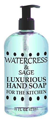 Greenwich Bay WATERCRESS SAGE HAND SOAP FOR THE KITCHEN With Shea Butter, Cocoa Butter and Thyme Leaf Oil to Wash Odors and Germs 16 oz