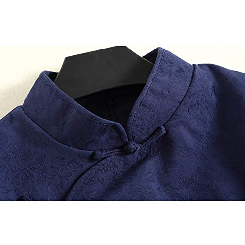 Xcxdx Estilo Tradicional De Borlas Chino Damas Cheongsam Para Vestido Azul Jacquard Oscuro Con rEqBHr