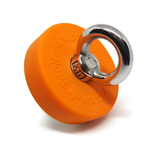 Super Strong Deluxe Fishing Magnet 330lbs Pull Force(150KG) | Durable Orange Rubber | Neodymium Rare Earth Magnet | 2.36 inch(60 mm) for Magnet Fishing & Lake or River Treasure Hunt | Woodland Home