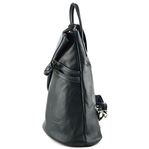 Bag Dark In Dream For Italy In Bag Italy Made Real Throws Back Back Leather Fur Zipper Blue Straps With Genuine Bags Women Leather Leather Artificial In qar4twa