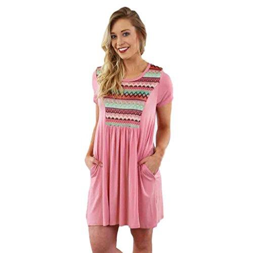 Gotd Women Floral Sundress Short Sleeve Casual Evening Party Beach Dress (L, Pink)