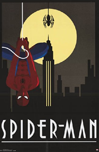 "Spiderman Vintage Style Art Deco Poster Print 22.5 X 34"""