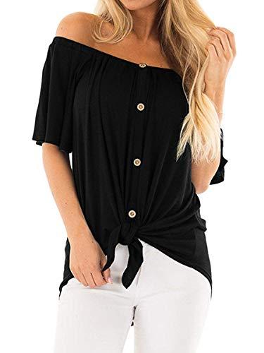 (SAMPEEL Womens Off The Shoulder Short Sleeve Button Down Shirt Twist Blouses Black S)