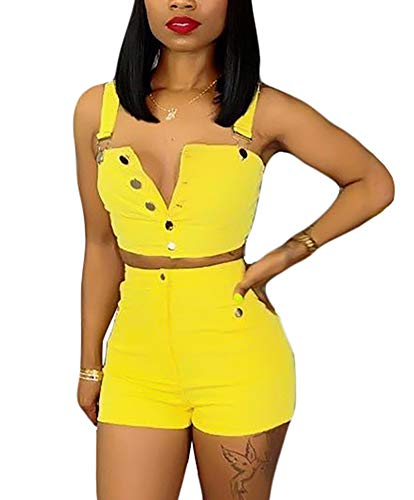 Women's Two Piece Denim Outfits Button Down Strapless Crop Top and Bodycon Jean Shorts Set Yellow XL