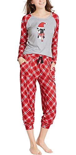 (Pajamas for Women, Cute Holiday Woman Pajama Set - Cutie Plaid Long Sleeve Raglan Shirt with Capri Joggers Red M)