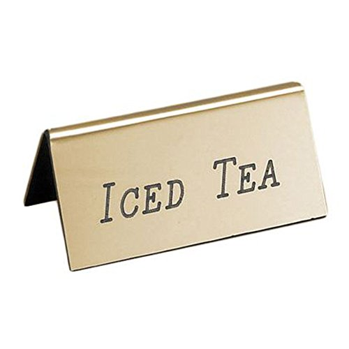 Gold Beverage Tent - 3W x 1D x 1.5H Iced Tea Engraved Beverage Tent Sign Gold