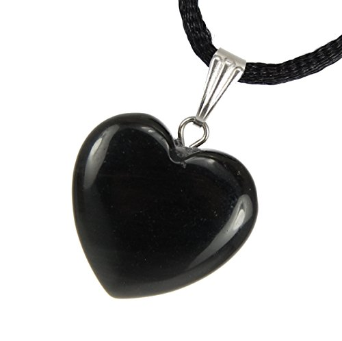 Steampunkers USA Big Heart Collection - 20mm Classic Obsidian Black - 20-22 inch Black Cord - Crystal Gemstone Carved Necklace Charm Handmade