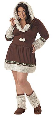 Sexy Eskimo Plus Size Costumes (California Costumes Women's Plus-Size Eskimo Kisses Plus, Brown/White, 3X)
