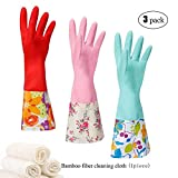 Household Rubber Cleaning Dishwashing Latex Gloves Non-slip Waterproof Reuseable(3-Pairs),Free get Cleaning Cloth (1-Pack) Red Green Pink