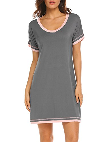 Ekouaer Casual Loungewear Women's Short Sleeve Sleepwear Knee Length Nightgown (Charcoal Grey,X-Large) by Ekouaer