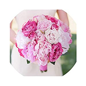Wenzi-Day New Handmade Peony Artificial Bride Bouquet Pink & hot Pink Peony Holding Flowers Bridesmaids Pink Peony Bouquet Bridal 117