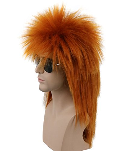 Karlery Men Women Long Straight Orange 70s 80s