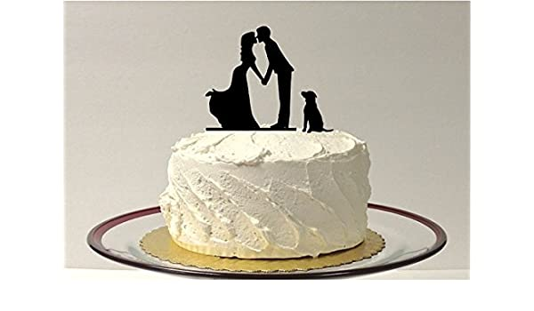 WEDDING CAKE TOPPER SILHOUETTE With Pet Silhouette Wedding Cake Topper Romantic Dog Family Of 3