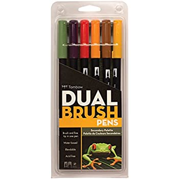 Tombow Dual Brush Pen Art Markers, Secondary, 6-Pack