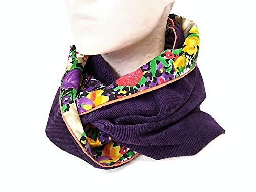 417fcb2ba6b0 snood femme violet velours et tissu fleuri, echarpe infinie en velours et  viscose fleuri,