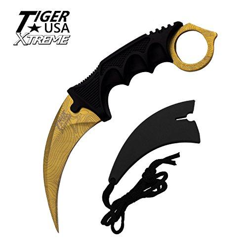Tiger-USA X-treme Gold Damascus Karambit Ranger Fixed Blade Neck Knife with Sheath ()