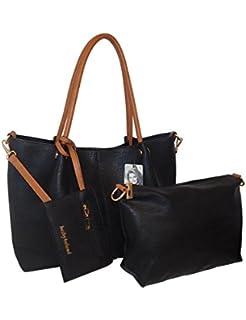 452aba3674 kathy ireland Black Super Soft Premium Pebbled Vegan leather Tote Handbag  with Mini Bag   Wristlet