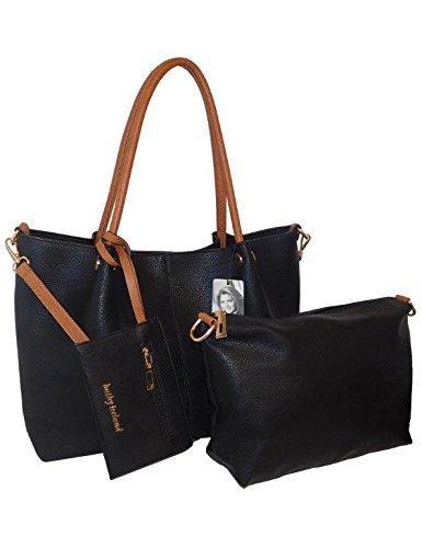 kathy ireland Black Super Soft Premium Pebbled Vegan leather Tote Handbag with Mini Bag & Wristlet- 3pc set