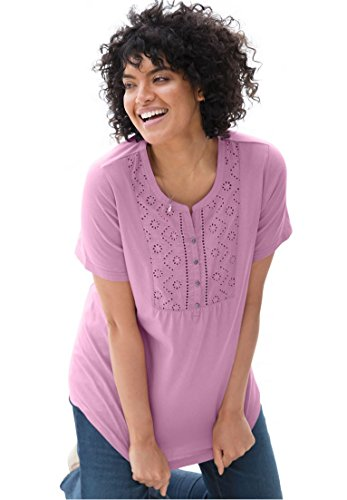 Womens Plus Size Top In Soft Knit With Eyelet Embroidery Amethyst 2X