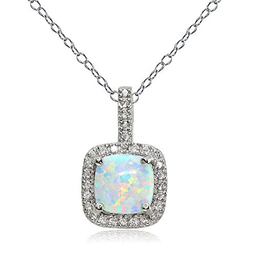 Ice Gems Sterling Silver Created White Opal & White Topaz Cushion-Cut Necklace ()