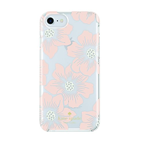 kate spade new york Protective Hardshell Case for iPhone 7 - Hollyhock Floral Clear/Cream / Pink Sand/Gems (Cream Pink Floral)