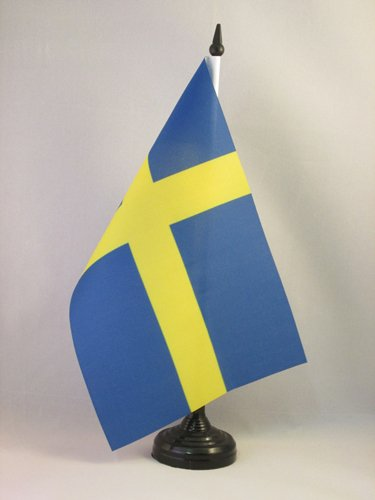 BANDIERA DA TAVOLO SVEZIA 21x14cm - PICCOLA BANDIERINA SVEDESE 14 x 21 cm - AZ FLAG