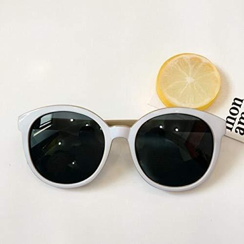 JEGOAU daikin Fashion Star Style Big Box Round Black Sunglasses Korea Retro Sunglasses Round face White (White Coffee Outside