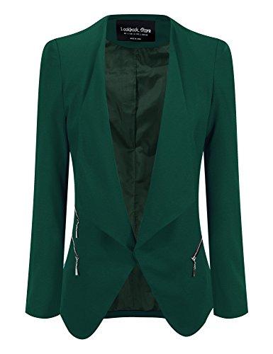 Lookbook+Store+Women%27s+Green+Draped+Padded+Asymmetric+Suit+Blazer+US+14