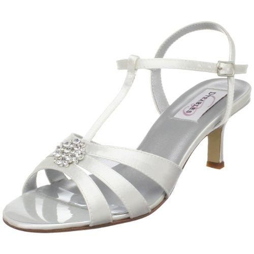 Dyeables Women's Opal Ankle-Strap Sandal,White Satin,5 B US