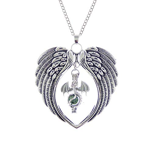 Julie Wang Antiqued Silver Large Heart Wing and Dragon Pearl Bead Cage Essential Oil Aromatherpy Locket Pendant ()