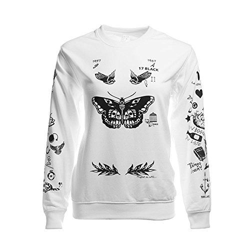 Noonew Women's Larry Stylinson Tattoos Sweatshirt White Small Shirt
