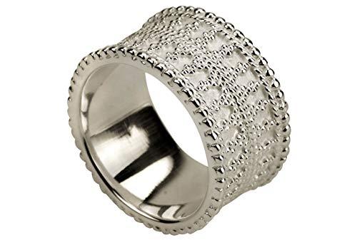 SILBERMOOS Damen Ring Ornament Band fein gepunktet Punkte glänzend Sterling Silber 925
