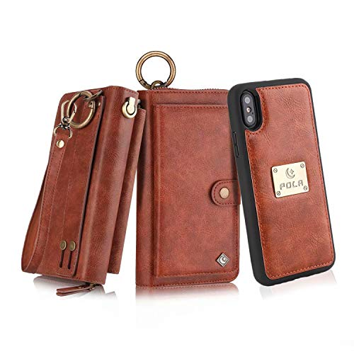 (Petocase Compatible iPhone XS Max Wallet Case, Multi-Functional PU Leather Zip Wristlets Clutch Detachable Magnetic 13 Card Slots 4 Cash Purse Protection Back Cover for Apple iPhone 10S Max)