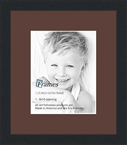 Mahogany Finished Wood Frame (ArtToFrames 8 x 10 Inch Opening Single Mat with a Satin Black 1.25'' wide Picture Frame, 2'' Mahogany Mat)